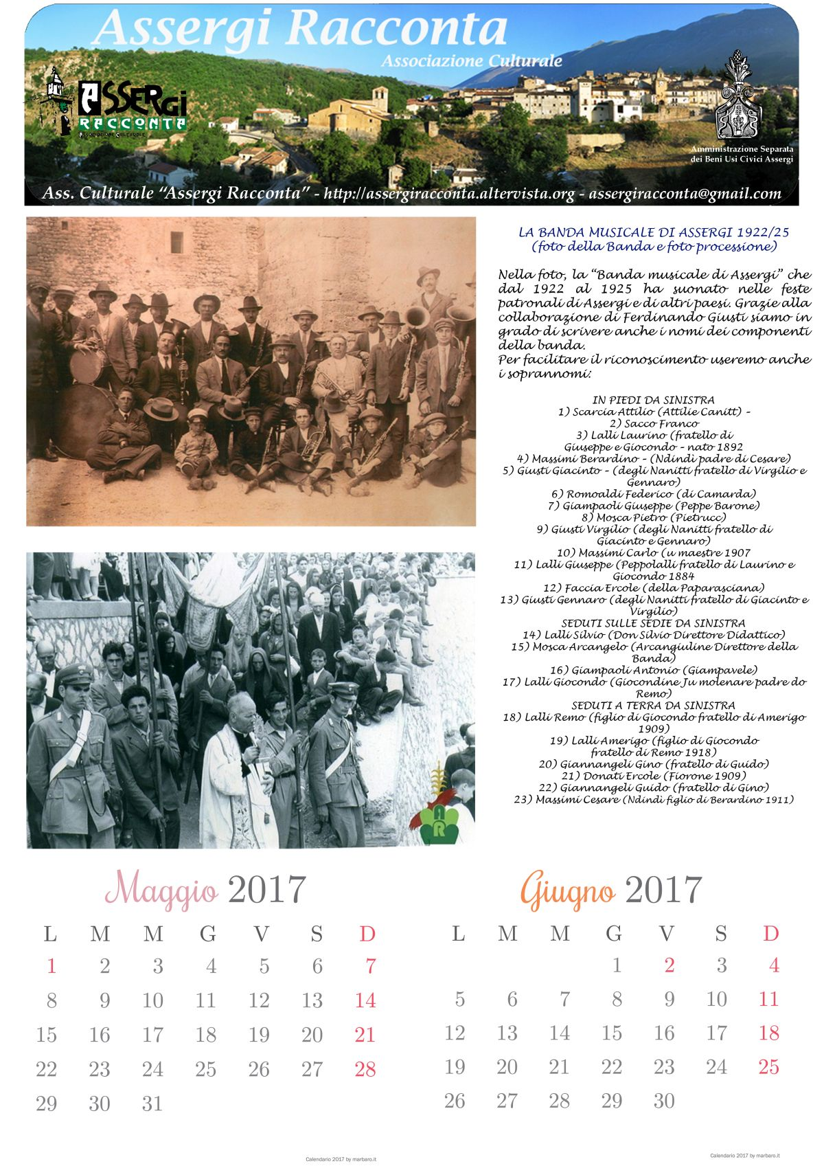Calendario Marbaro.Calendario Assergi Racconta 2017 Assergi Racconta